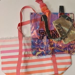 Victoria secret tote bundle iridescent pink stripe